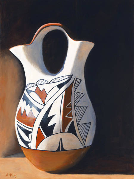 Pueblo Painting - Acoma Wedding Vase by Jack Atkins