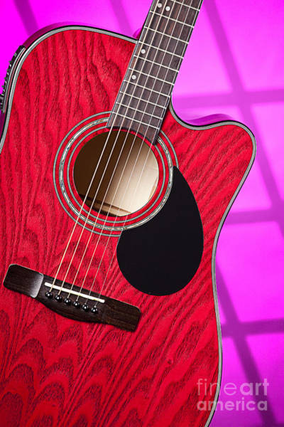 Fret Board Photograph - Acoustic Electric Red Guitar On Pink by M K Miller