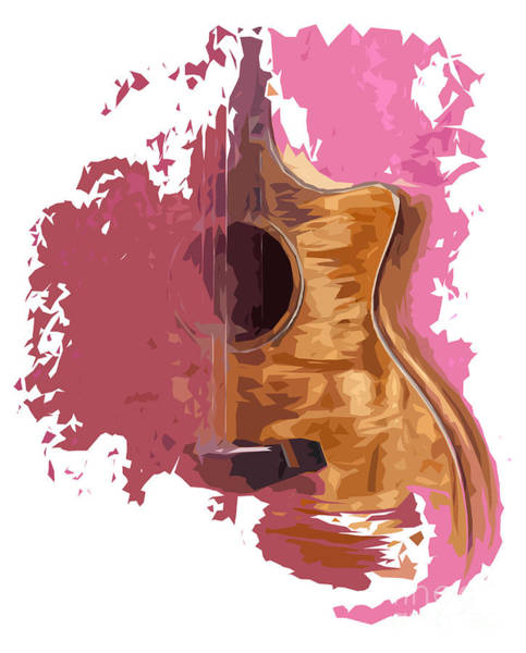 Acoustic Bass Wall Art - Digital Art - Acoustic Guitar 1 by Drawspots Illustrations