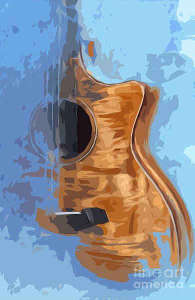 Acoustic Bass Wall Art - Drawing - Acoustic Guitar Blue Background 1 by Drawspots Illustrations