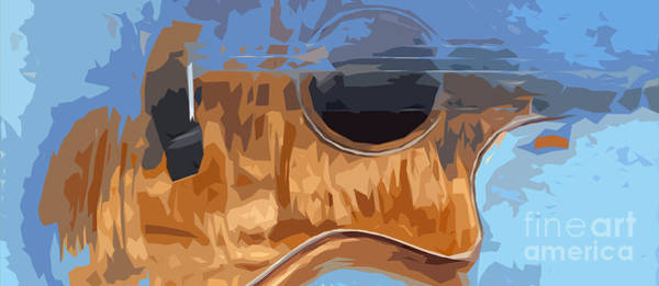 Acoustic Bass Wall Art - Digital Art - Acoustic Guitar Blue Background 2 by Drawspots Illustrations