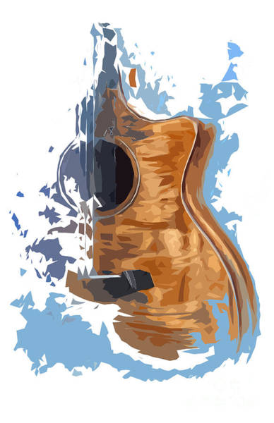 Acoustic Bass Wall Art - Drawing - Acoustic Guitar Blue Background 4 by Drawspots Illustrations