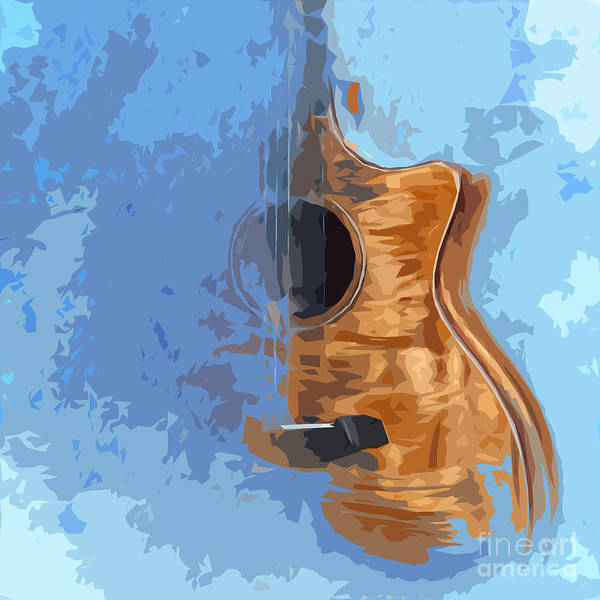 Acoustic Bass Wall Art - Digital Art - Acoustic Guitar Blue Background 5 by Drawspots Illustrations