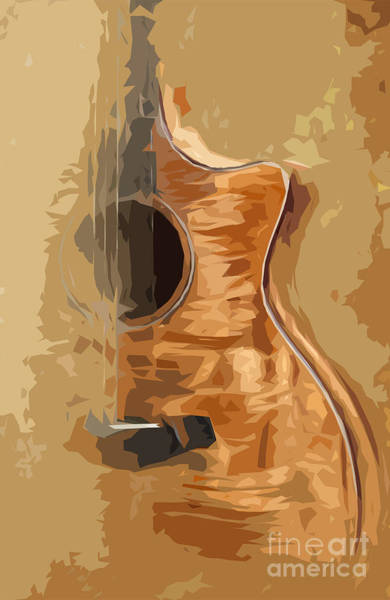 Acoustic Bass Wall Art - Digital Art - Acoustic Guitar Brown Background 1 by Drawspots Illustrations