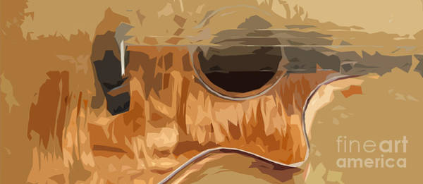 Acoustic Bass Wall Art - Digital Art - Acoustic Guitar Brown Background 2 by Drawspots Illustrations