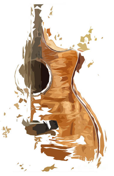 Acoustic Bass Wall Art - Digital Art - Acoustic Guitar Brown Background 4 by Drawspots Illustrations