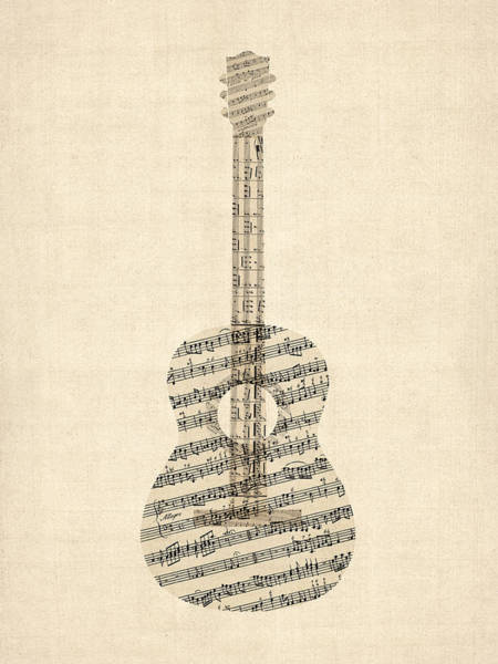 Acoustic Wall Art - Digital Art - Acoustic Guitar Old Sheet Music by Michael Tompsett