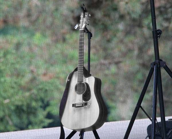 Tab Photograph - Acoustic Guitar Outside Concert by Dan Sproul