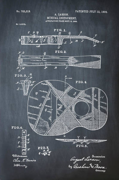 Spanish Guitar Wall Art - Photograph - Acoustic Guitar Patent 1903 by Bill Cannon