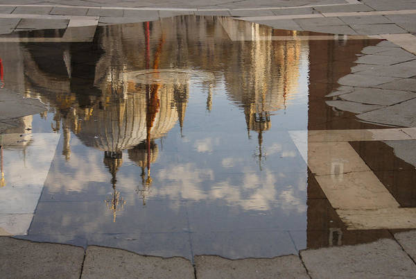 Photograph - Acqua Alta Or High Water Reflects St Mark's Cathedral In Venice by Georgia Mizuleva