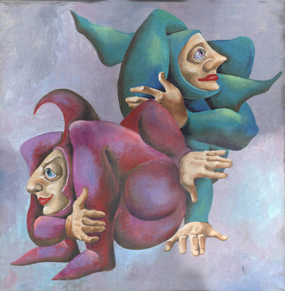 Trapeze Painting - Acrobats by Elena Trupak