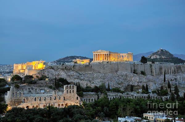 Erechtheion Photograph - Acropolis Of Athens During Dusk Time by George Atsametakis