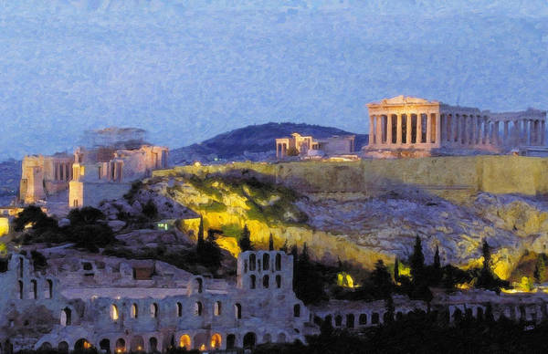 Painting - Acropolis Parthenon Grk1204 by Dean Wittle