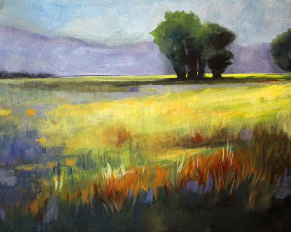 Prairie Grass Painting - Across The Field by Nancy Merkle