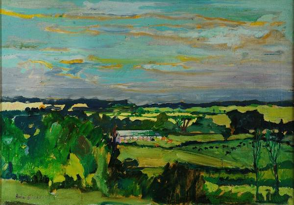 Impasto Photograph - Across The Valley, Bedfordshire, 1973 Oil On Canvas by Brenda Brin Booker