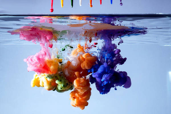 Mixing Photograph - Acrylic Paints In Water by Antonio Iacobelli