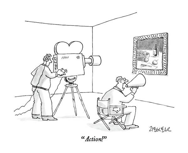 Megaphone Drawing - Action! by Jack Ziegler