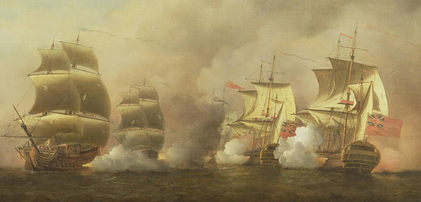 Shooting Painting - Action Off The Cape Of Good Hope by Samuel Scott