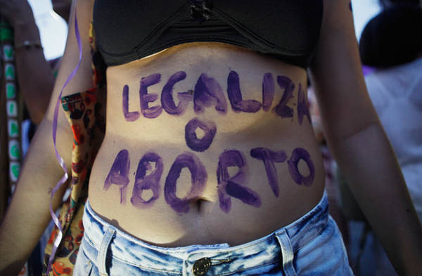 Activists In Brazil March For Women's Rights On International Women's Day Art Print by Mario Tama