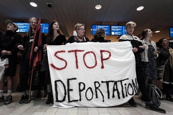Activists Prevent Deportation Of Ugandan Asylum Seeker In Denmark Art Print by NurPhoto