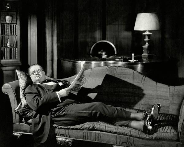 January 1st Photograph - Actor Alexander Woollcott On A Couch by Nick Lazarnick