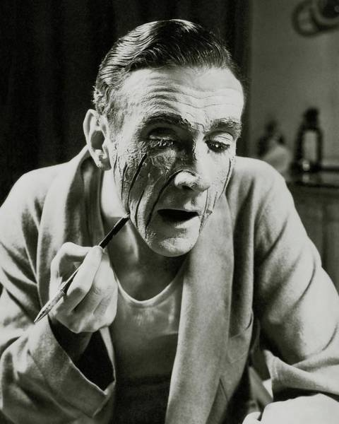 Apply Photograph - Actor Clifton Webb Applying Make-up by Lusha Nelson