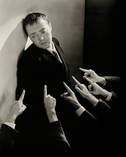 Gesture Photograph - Actor Peter Lorre Posing Against A Wall by Lusha Nelson