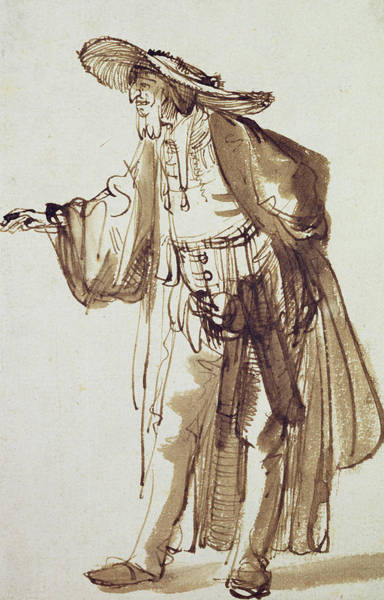 Wall Art - Drawing - Actor With A Broad-rimmed Hat by Rembrandt Harmensz van Rijn
