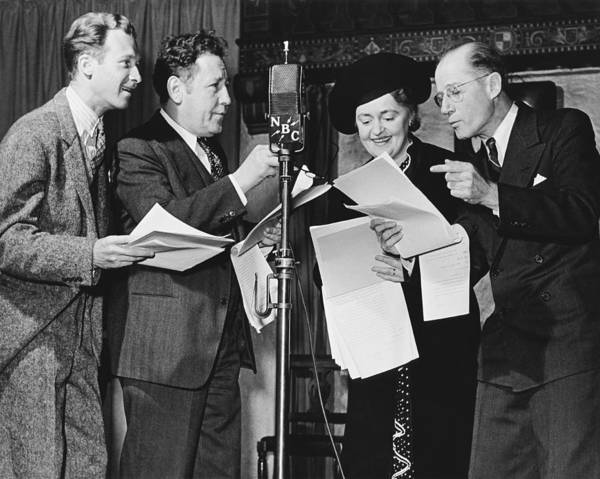 Nbc Photograph - Actors Doing Live Radio Show by Underwood Archives
