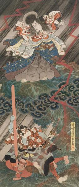 Woodblock Painting - Actors Ichikawa Danjuro Vii As Kan Shojo by Utagawa Kunisada