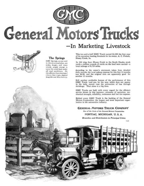 Wall Art - Painting - Ad General Motors, 1919 by Granger