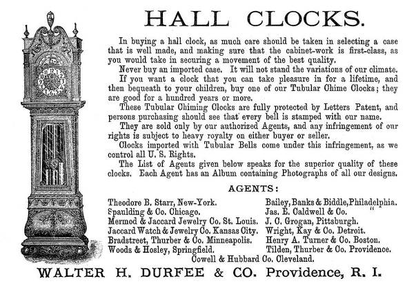 Grandfather Clock Painting - Ad Hall Clock, 1890 by Granger
