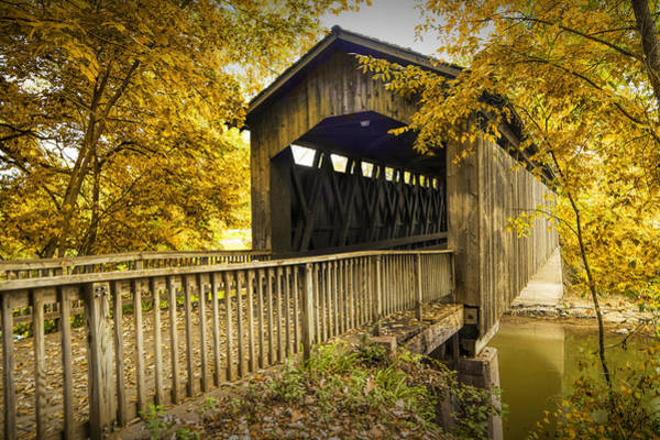 Photograph - Ada Covered Bridge In Autumn by Randall Nyhof
