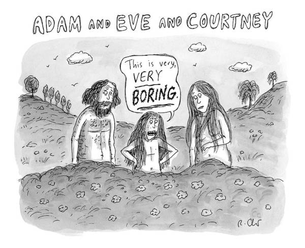 Adam And Eve And Courtney In The Garden Of Eden Art Print