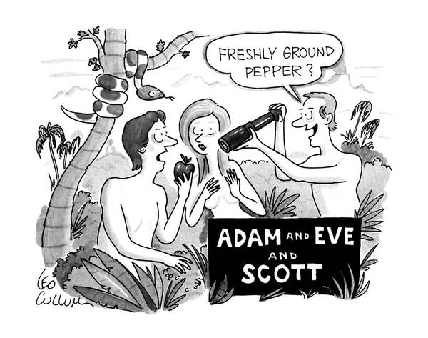 Service Drawing - Adam And Eve And Scott by Leo Cullum