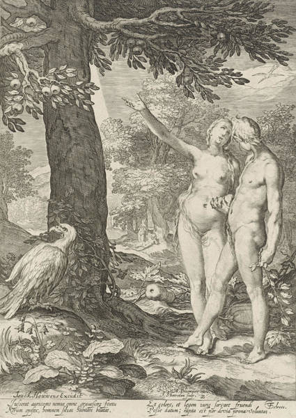 Wall Art - Drawing - Adam And Eve Before The Tree Of Knowledge Of Good And Evil by Jan Saenredam And Abraham Bloemaert And Isack Houwens