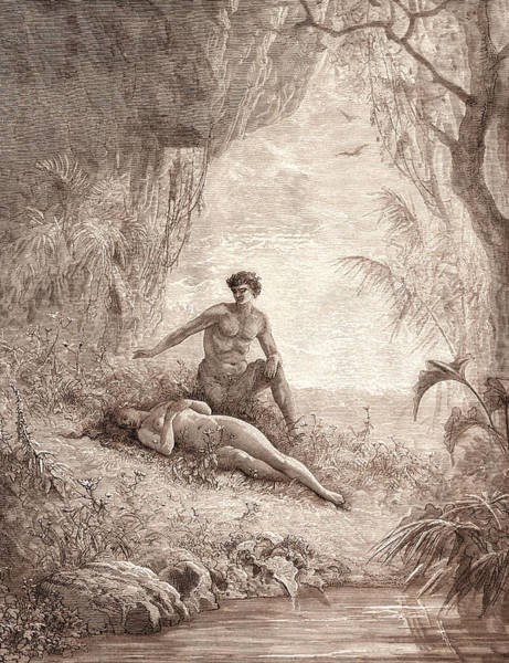 Dor Drawing - Adam And Eve, By Gustave DorÉ. Dore, 1832 - 1883 by Litz Collection