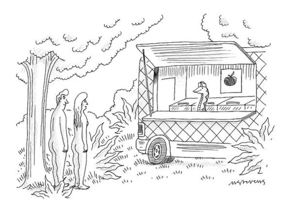 Truck Drawing - Adam And Eve Encounter An Apple Food-truck by Mick Stevens