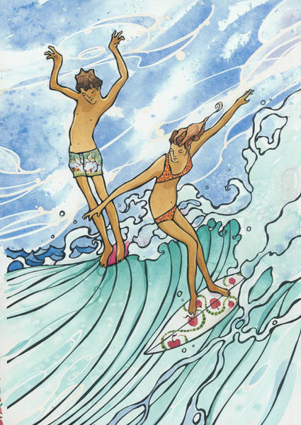 Surf Painting - Adam And Eve by Harry Holiday