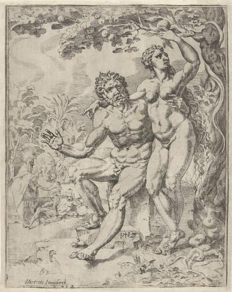 Wall Art - Drawing - Adam And Eve Picking The Forbidden Fruit by Dirck Volckertsz Coornhert