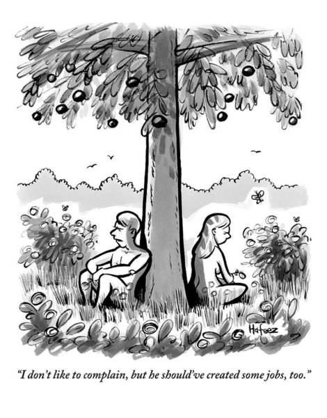 Hafeez Drawing - Adam And Eve Sit Back To Back Against A Tree by Kaamran Hafeez