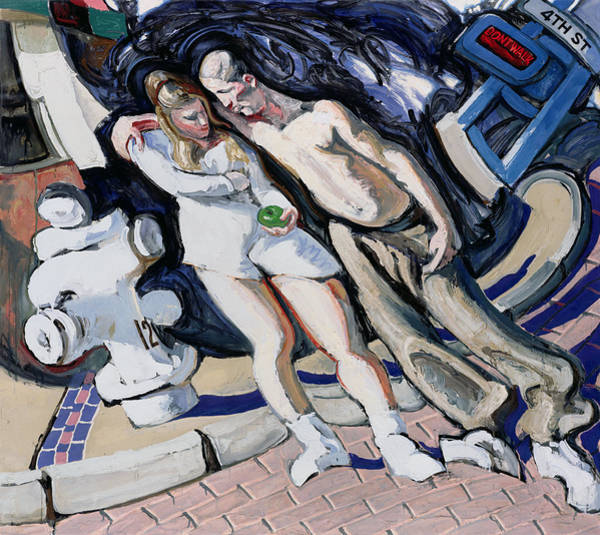 Adolescent Painting - Adam And Eve, South Of Market by Alek Rapoport