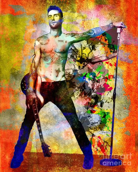 Maroon Painting - Adam Levine - Maroon 5 by Ryan Rock Artist