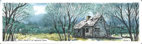 Pen And Ink Mixed Media - Adams Ranch Headquarters King County Texas by Tim Oliver