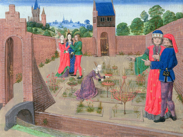 Manuscript Wall Art - Photograph - Add 19720 Fol.214 Walled Garden With A Woman Gardening And Others Gossiping, From Livre Des by French School