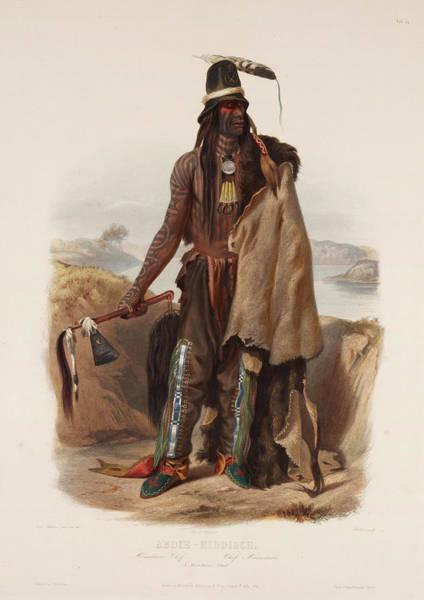 Drawing - Addih Haddisch A Mandan Chief by Karl Bodmer