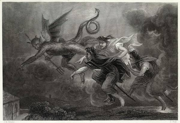 Folklore Drawing - 'address To The Devil' Let Warlocks by Mary Evans Picture Library