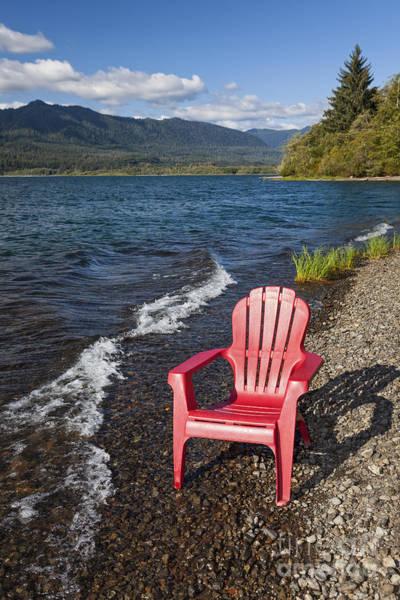 Photograph - Adirondack Chair By Lake by Bryan Mullennix