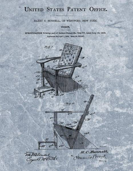 Chair Mixed Media - Adirondack Chair Patent Blue by Dan Sproul