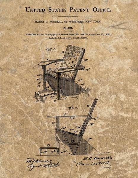 Chair Mixed Media - Adirondack Chair Patent by Dan Sproul